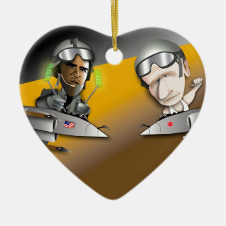 Obama vs. Putin Ceramic Heart Ornament