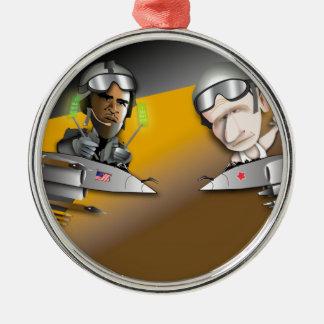 Obama vs. Putin Silver-Colored Round Ornament