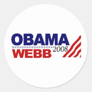Obama Webb 2008 Round Sticker