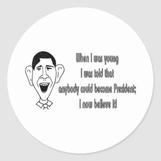 Obama - When I was young Classic Round Sticker