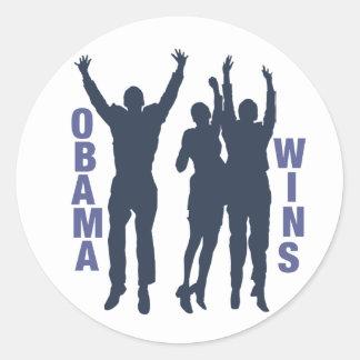 Obama Wins Round Sticker
