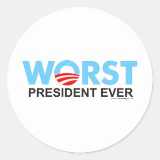 Obama WorstEver Classic Round Sticker