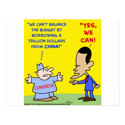 Obama yes we can balance budget post cards