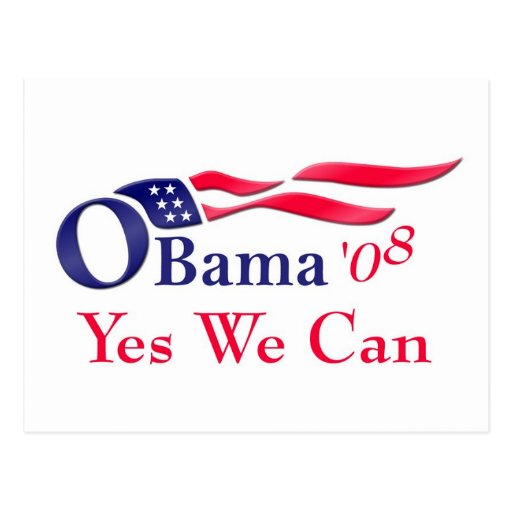 """Obama """"yes we can"""" Postcard"""