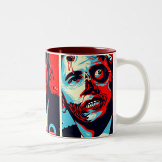 obama zombie Two-Tone coffee mug