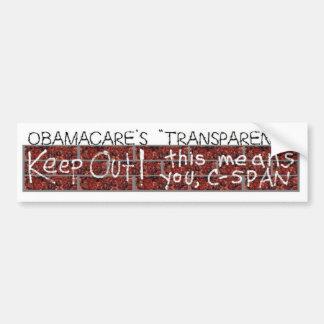 "Obamacare's ""transparency"" bumper sticker"