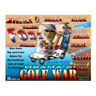 Obams's Golf War Postcard