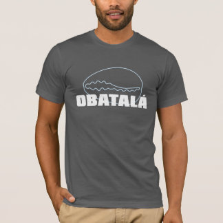 Obatala name with cowrie, in white and clear blue T-Shirt