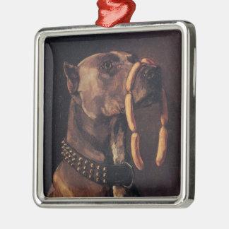 Obedient Doberman Pinscher Silver-Colored Square Ornament