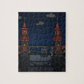 Oberbaum Bridge Berlin at night Jigsaw Puzzle
