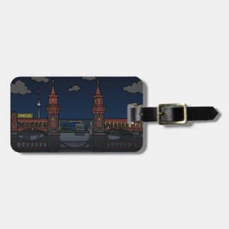 Oberbaum Bridge Berlin at night Luggage Tag