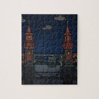 Oberbaum Bridge Berlin at night Puzzle