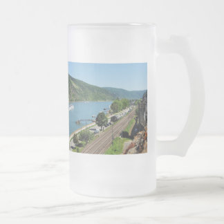 Oberwesel on the Rhine Frosted Glass Beer Mug