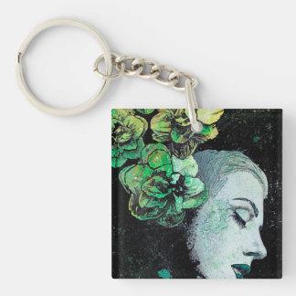 OBEY ME - flower girl graffiti portrait Keychain