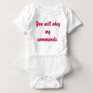 """Obey Me"" Funny Baby White Tutu Bodysuit"
