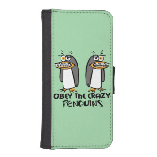 Obey the crazy Penguins Graphic Design Phone Wallet Cases