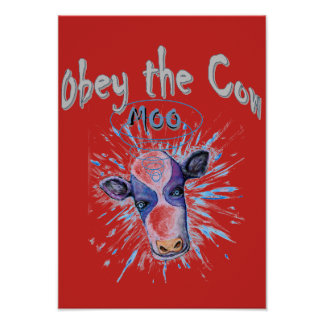 Obey the Telepathic Cow Poster