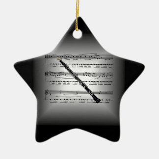Oboe ~ 3-D Sheet Music Pillow ~Silver & Black Back Ceramic Ornament