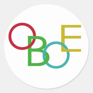 OBOE Letters Round Sticker
