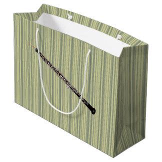 Oboe on Fine Green Vertical Stripes Large Gift Bag