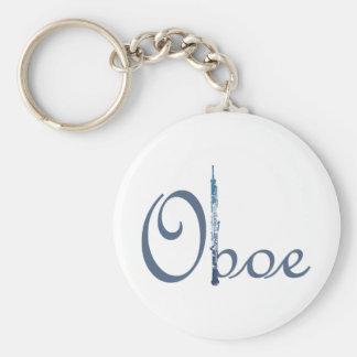 Oboe Script Basic Round Button Keychain