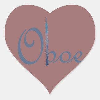 Oboe Script Heart Sticker