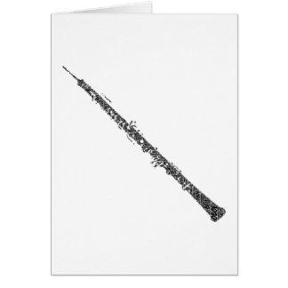 Oboe Shaped Word Art Black Text Card