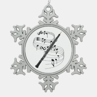 Oboe Snowflake Pewter Christmas Ornament
