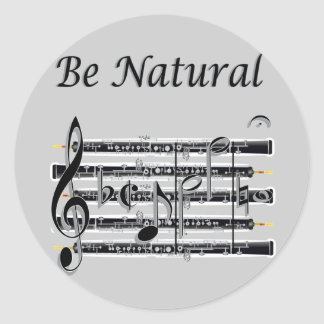 Oboists Know How to B Natural Round Sticker