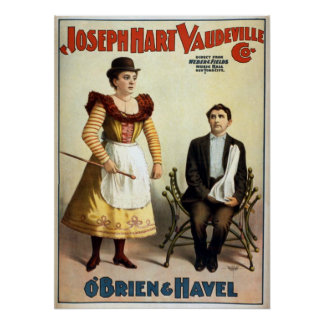 """O'Brien and Havel"" Vintage Vaudeville Poster"