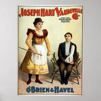 """O'Brien and Havel"" Vintage Vaudeville Poster"