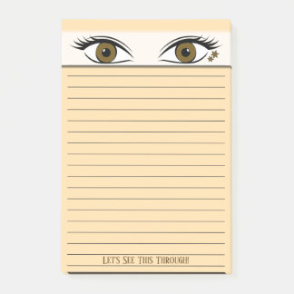 Observant Brown Eyes At Top of Black Lined Post-it Notes