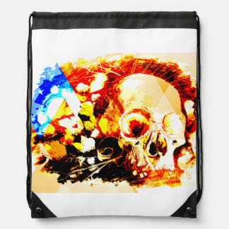 obsessed with skull drawstring bag
