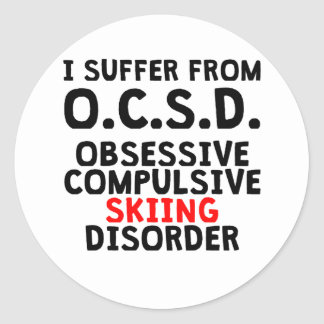 Obsessive Compulsive Skiing Disorder Classic Round Sticker
