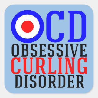 Obsessive Curling Disorder Funny Sports Square Sticker