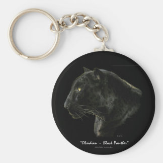 """""""OBSIDIAN, BLACK PANTHER"""" Key-chain Basic Round Button Keychain"""