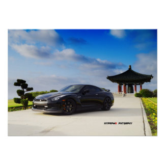 """""""Obsidian"""" Nissan GT-R R35 with Carbon Poster"""