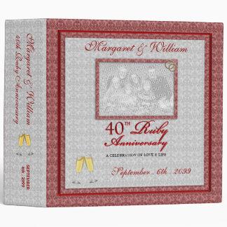 OBSOLETE: 40th Ruby Anniversary Damask Vinyl Binder