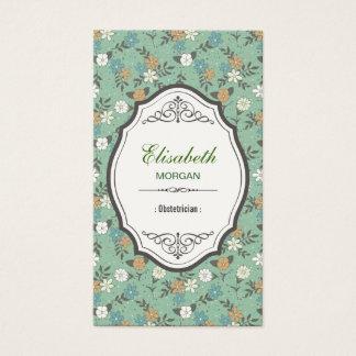 Obstetrician - Elegant Vintage Floral Business Card