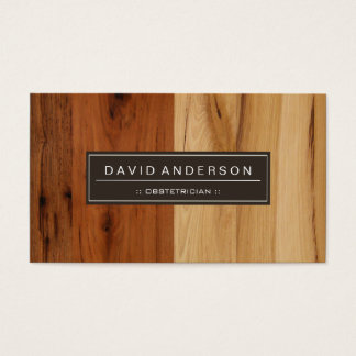Obstetrician - Wood Grain Look Business Card