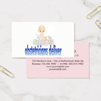 Obstetricians Deliver Pun | OBGYN Doctor Pink Blue Business Card