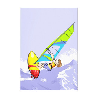 Obstinate young Windsurf to the candle of its Canvas Print