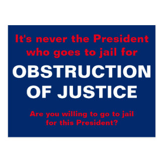 Obstruction of Justice White House Jail Time Postcard