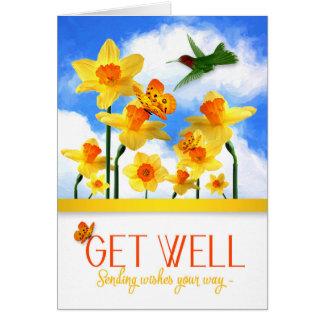 Obtenez le jardin bon de jonquille avec le colibri carte