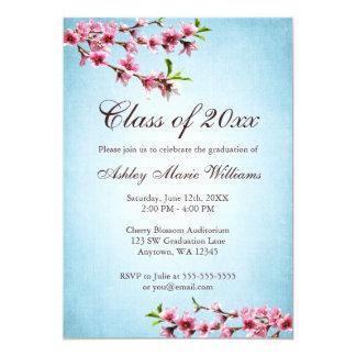 Obtention du diplôme bleue vintage de fleurs de carton d'invitation  12,7 cm x 17,78 cm