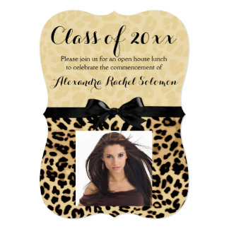 Obtention du diplôme d'empreinte de léopard et carton d'invitation  12,7 cm x 17,78 cm