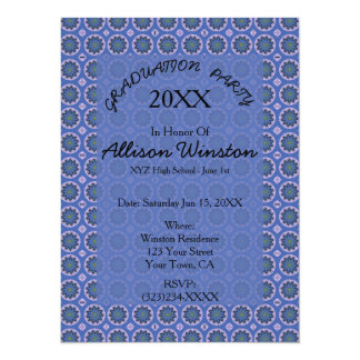 Obtention du diplôme florale assez bleue de motif carton d'invitation  13,97 cm x 19,05 cm