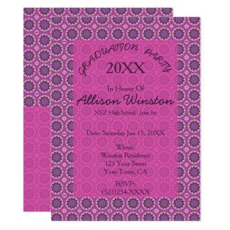 Obtention du diplôme florale assez rose de motif carton d'invitation  13,97 cm x 19,05 cm