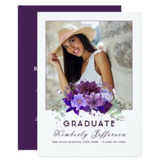 Obtention du diplôme florale pourpre violette de carton d'invitation  12,7 cm x 17,78 cm