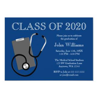 Obtention du diplôme médicale de bleu d'école carton d'invitation  12,7 cm x 17,78 cm